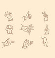 fingers a set hand gestures vector image vector image