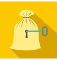 Full sack with a keyhole icon flat style vector image vector image