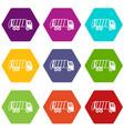 garbage truck icon set color hexahedron vector image vector image
