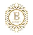 golden label for beauty boutique monogram logo vector image