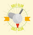 golf club with ball retro design emblem vector image vector image