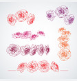 hand drawn roses in bloom set page corner vector image vector image