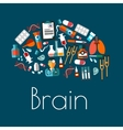 human brain symbol with flat medical icons vector image vector image