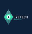 human eye with circuit board tech logo emblem vector image