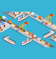 isometric city industrial port with transport boat vector image