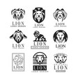 lion logo design set design element for poster vector image vector image
