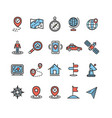 location and navigation signs color thin line icon vector image vector image