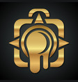 logo of the golden camera with a leaking lens vector image vector image