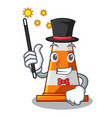 magician on traffic cone against mascot argaet vector image vector image