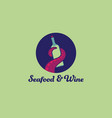 octopus an wine logo seafood restaurant tentacle vector image