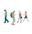 people walking and with smartphone in flat style vector image vector image