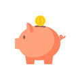 piggy bank with coin in flat style vector image