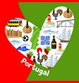 portugal background design in shape heart vector image