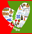 portugal background design in shape of heart vector image