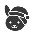 rabbit wearing santa hat silhouette icon design vector image vector image