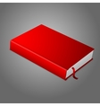 Realistic red blank hardcover book with bookmark vector image vector image
