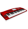 red synthesizer on white background vector image vector image