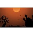 scenery Halloween castle pumpkin bat silhouette vector image vector image