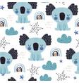 seamless childish pattern with cute koala baby vector image