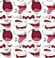 Seamless different expressions of mouth vector image