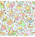 Seamless pattern from cartoon girls angels vector image vector image
