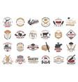 set butcher shop and bakery shop badge label vector image