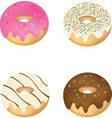 set of four decorated donuts vector image vector image