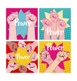 set of girl power cards vector image