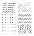 set of hand drawn sketch dots line stripe vector image vector image