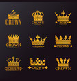 set of isolated golden crowns for company branding vector image vector image