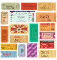 set of old isolated tickets for cinema or theater vector image vector image