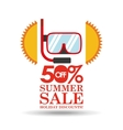 summer sale 50 discounts with snorkeling vector image