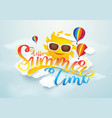 summer time banner design sun and hot air vector image vector image