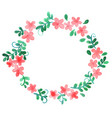 sweet pink flower and ivy leaf wreath vector image vector image