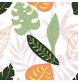 trendy seamless pattern with tropical leaves vector image vector image