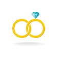 wedding rings logo two golden crossed rings vector image
