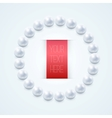 Pearl necklace with red label vector image