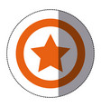 sticker orange silhouette star favorite icon vector image