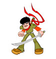 a cheeky fellow with a sword the character is vector image