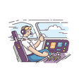 airplane pilot in cockpit vector image vector image