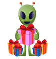 alien with present on white background vector image