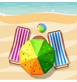 Beach chair and umbrella top view vector image