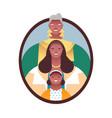 black women family member photo frame isolated vector image