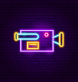 camera neon sign vector image vector image