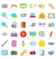 computer part icons set cartoon style vector image vector image