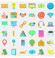 contact information icons set cartoon style vector image vector image