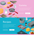 cooking food isometric objects banners vector image vector image
