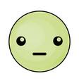 cute green kawaii emoticon face vector image
