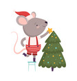 cute mouse in santa hat decorating christmas tree vector image vector image