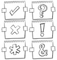 different signs on scratch papers vector image vector image